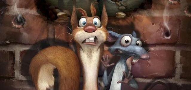 Крыса воспитывает маленьких бельчат