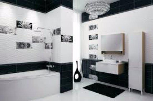 Черно-белая плитка для ванной комнаты