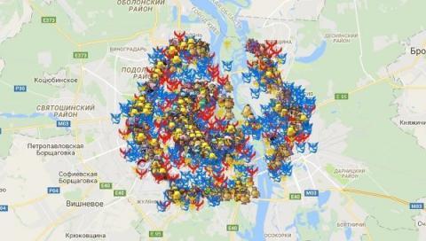 Создана интерактивная карта покемонов Киева